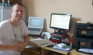 Peter Fender's composing desk